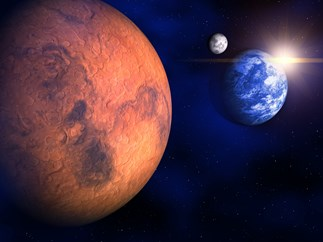 Mars and Earth in space