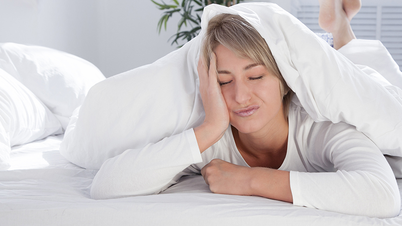 Woman frustrated she can't sleep