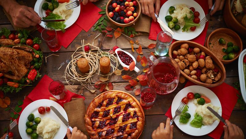 Holiday food on a decorated table