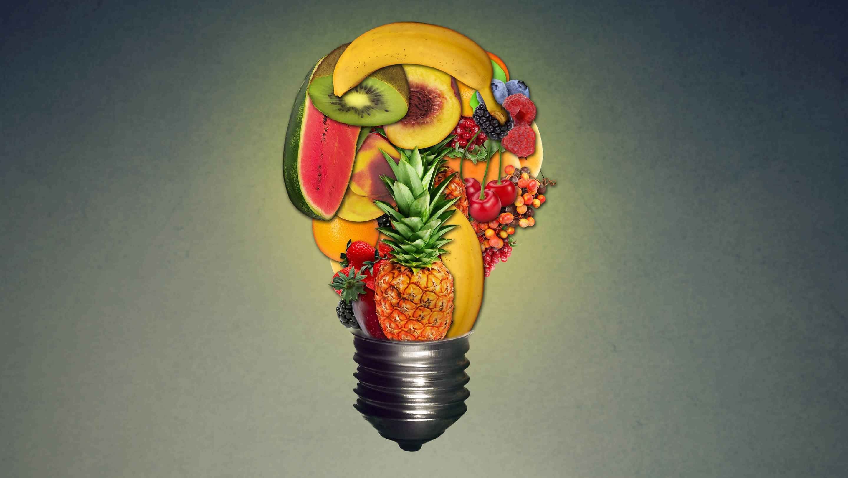 Abstract food in a light bulb shape