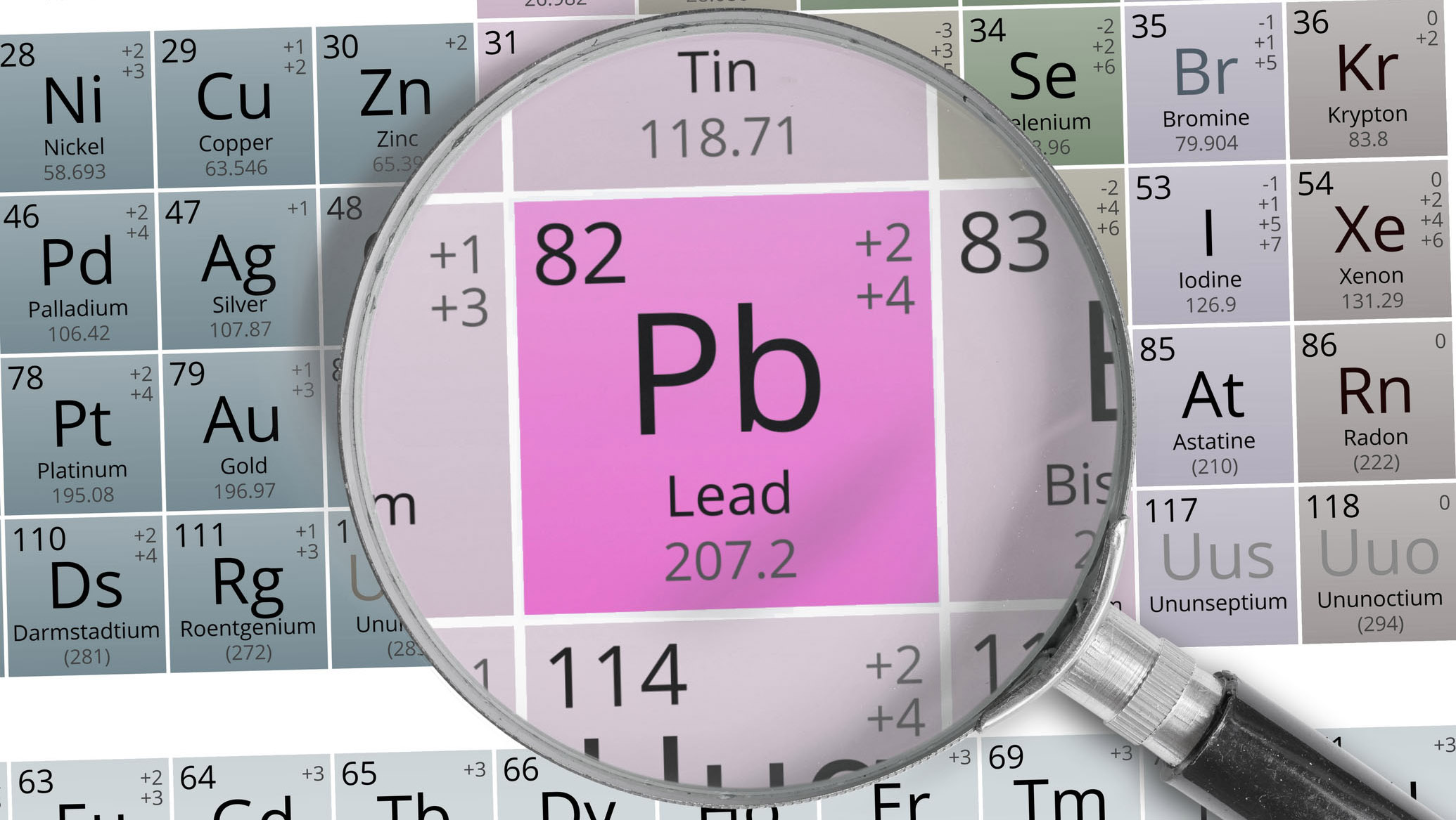 Magnifying glass over Lead on the periodic table