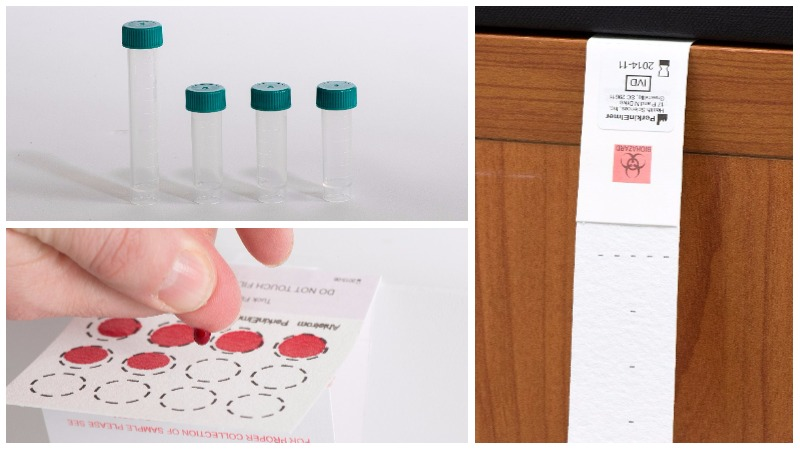 Patient collecting for saliva, blood spot, and dried urine testing