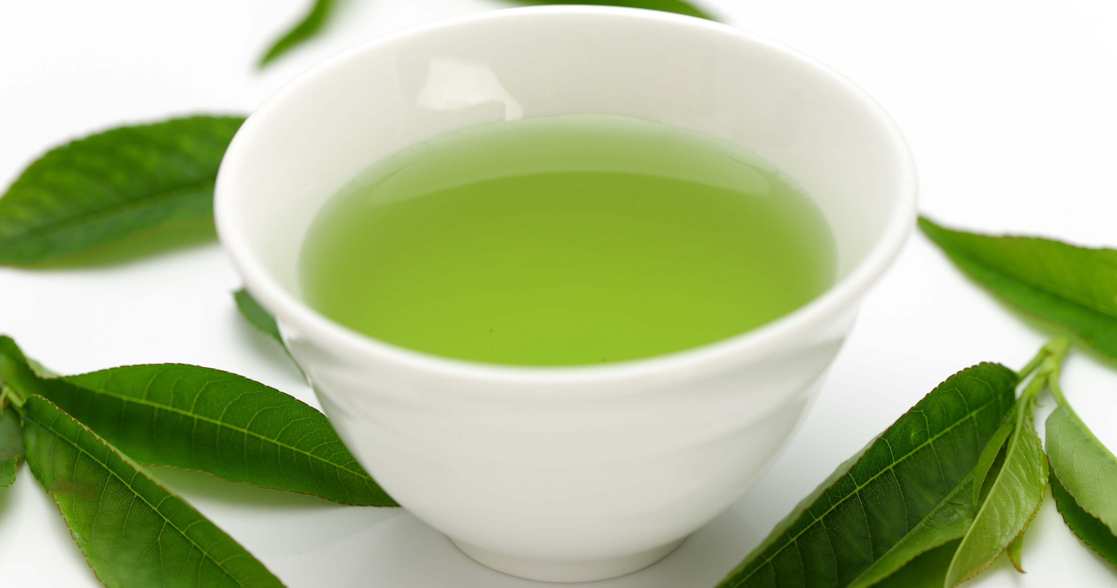 Green tea surrounded by green leaves