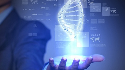 Person holding illustration of DNA