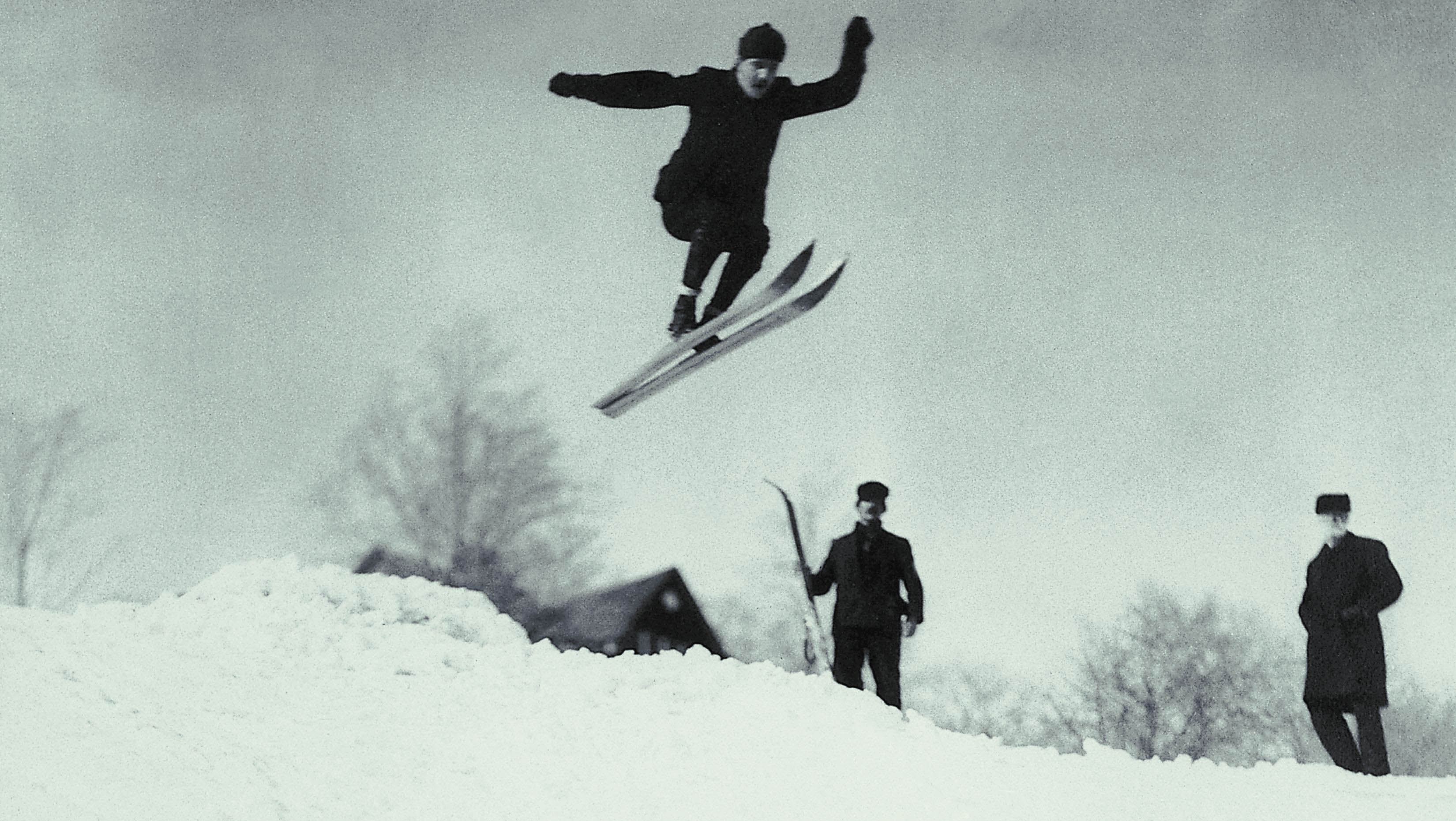 Historic shot of Norwegian skier going off a jump